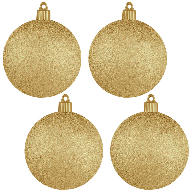 "4"" (100mm) Commercial Shatterproof Ball Ornament, Glitter Gold Glitter, 4 per Bag, 12 Bags per Case, 48 Pieces"