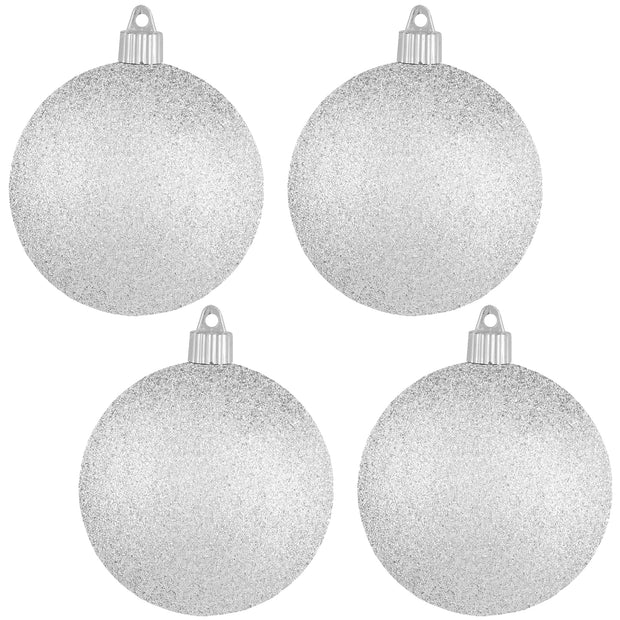 "4"" (100mm) Commercial Shatterproof Ball Ornament, Glitter Silver Glitter, 4 per Bag, 12 Bags per Case, 48 Pieces - Christmas by Krebs Wholesale"