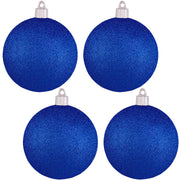 "4"" (100mm) Commercial Shatterproof Ball Ornament, Glitter Dark Blue, 4 per Bag, 12 Bags per Case, 48 Pieces - Christmas by Krebs Wholesale"