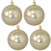 "4"" (100mm) Commercial Shatterproof Ball Ornament, Shiny Champagne Shine, 4 per Bag, 12 Bags per Case, 48 Pieces"