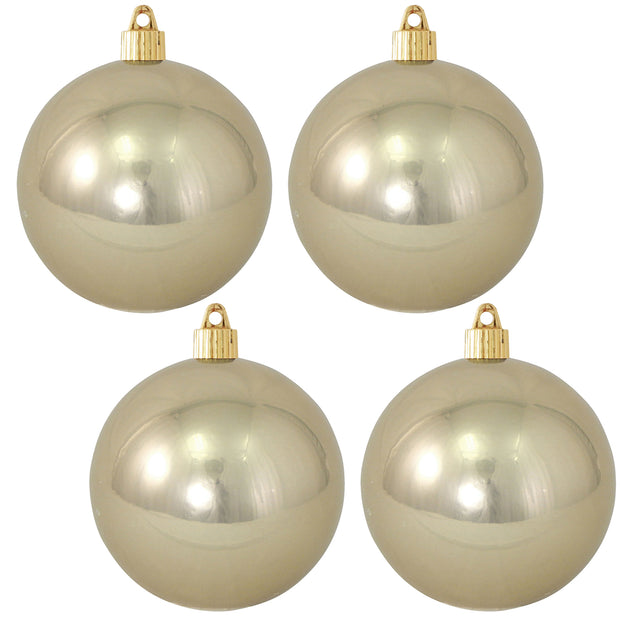 "4"" (100mm) Commercial Shatterproof Ball Ornament, Shiny Champagne Shine, 4 per Bag, 12 Bags per Case, 48 Pieces - Christmas by Krebs Wholesale"