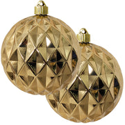 "6"" (150mm) Commercial Shatterproof Ball Ornament, Shiny Gilded Gold Diamond, 2 per Bag, 6 Bags per Case, 12 Pieces - Christmas by Krebs Wholesale"