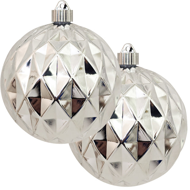 "6"" (150mm) Commercial Shatterproof Ball Ornament, Shiny Looking Glass Silver Diamond, 2 per Bag, 6 Bags per Case, 12 Pieces - Christmas by Krebs Wholesale"