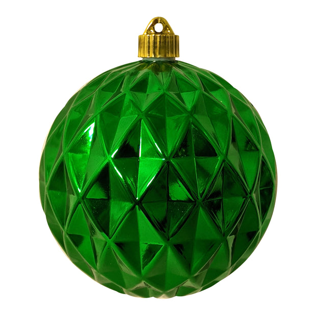 "6"" (150mm) Commercial Shatterproof Ball Ornament, Shiny Blarney Green Diamond, 2 per Bag, 6 Bags per Case, 12 Pieces - Christmas by Krebs Wholesale"