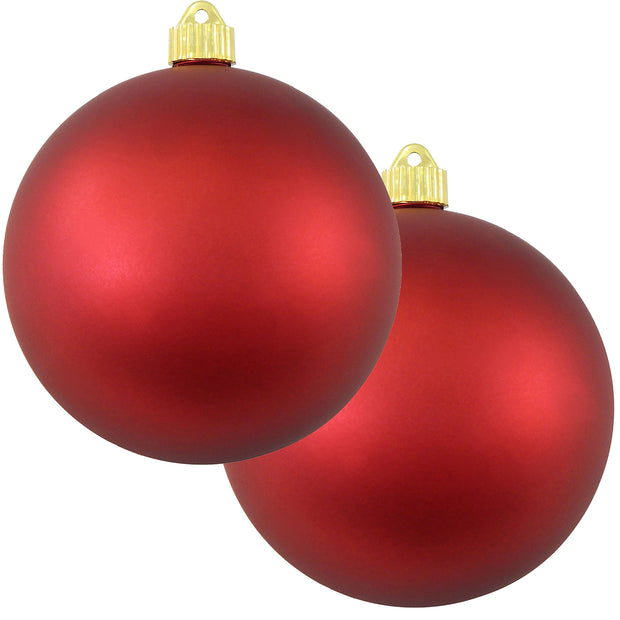 "6"" (150mm) Commercial Shatterproof Ball Ornament, Matte Red Alert, 2 per Bag, 6 Bags per Case, 12 Pieces"