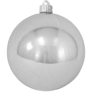 "6"" (150mm) Commercial Shatterproof Ball Ornament, Shiny Looking Glass Silver, 2 per Bag, 6 Bags per Case, 12 Pieces"