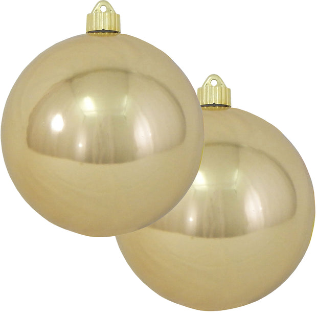 "6"" (150mm) Commercial Shatterproof Ball Ornament, Shiny Gilded Gold, 2 per Bag, 6 Bags per Case, 12 Pieces"