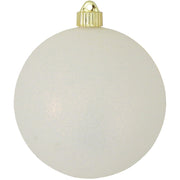 "6"" (150mm) Commercial Shatterproof Ball Ornament, Snowball White Glitter, 2 per Bag, 6 Bags per Case, 12 Pieces - Christmas by Krebs Wholesale"
