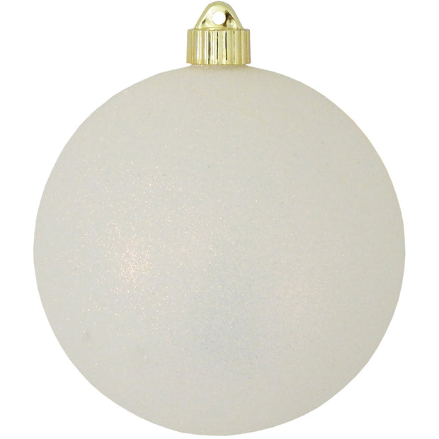 "6"" (150mm) Commercial Shatterproof Ball Ornament, Snowball White Glitter, 2 per Bag, 6 Bags per Case, 12 Pieces"