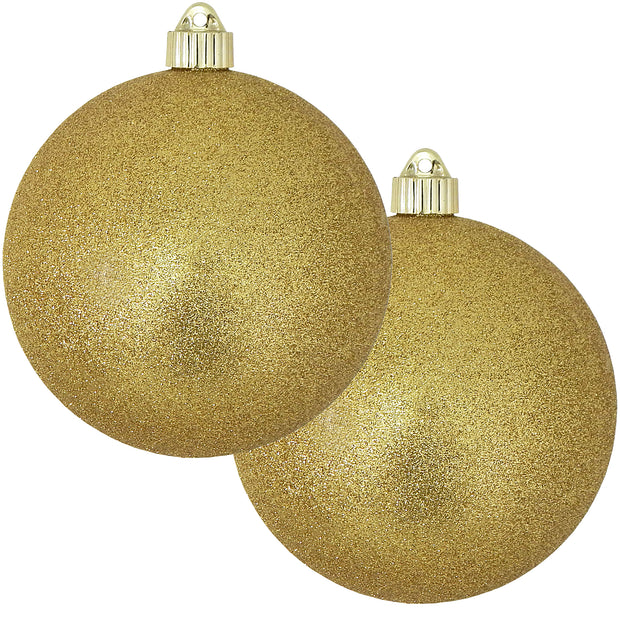 "6"" (150mm) Commercial Shatterproof Ball Ornament, Gold Glitter, 2 per Bag, 6 Bags per Case, 12 Pieces"