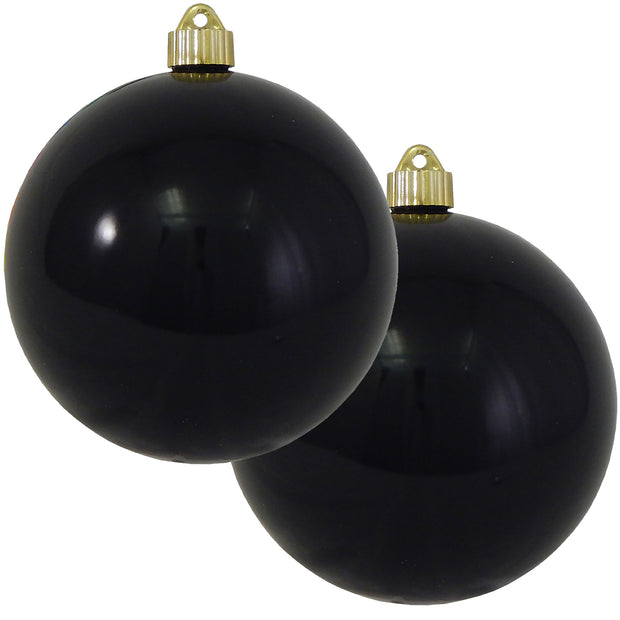 "6"" (150mm) Commercial Shatterproof Ball Ornament, Shiny Onyx Black, 2 per Bag, 6 Bags per Case, 12 Pieces - Christmas by Krebs Wholesale"