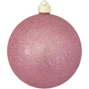 "6"" (150mm) Commercial Shatterproof Ball Ornament, Pink Rose Glitter, 2 per Bag, 6 Bags per Case, 12 Pieces"