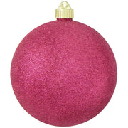 "6"" (150mm) Commercial Shatterproof Ball Ornament, Cabernet Glitter Pink, 2 per Bag, 6 Bags per Case, 12 Pieces"