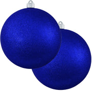 "6"" (150mm) Commercial Shatterproof Ball Ornament, Dark Blue Glitter, 2 per Bag, 6 Bags per Case, 12 Pieces - Christmas by Krebs Wholesale"