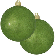 "6"" (150mm) Commercial Shatterproof Ball Ornament, Lime Green Glitter, 2 per Bag, 6 Bags per Case, 12 Pieces - Christmas by Krebs Wholesale"