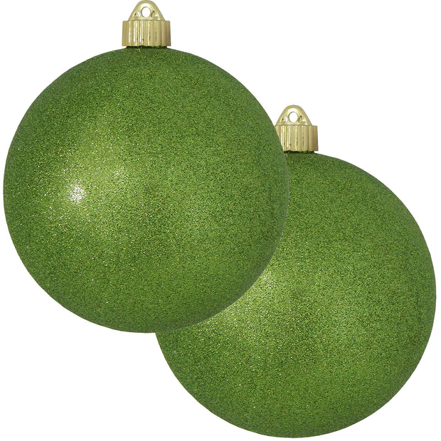 "6"" (150mm) Commercial Shatterproof Ball Ornament, Lime Green Glitter, 2 per Bag, 6 Bags per Case, 12 Pieces"