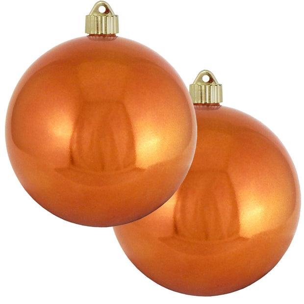 "6"" (150mm) Commercial Shatterproof Ball Ornament, Shiny Mandarin Orange, 2 per Bag, 6 Bags per Case, 12 Pieces"