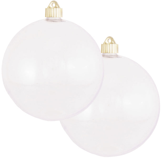 "6"" (150mm) Commercial Shatterproof Ball Ornament, Shiny Clear, 2 per Bag, 6 Bags per Case, 12 Pieces"
