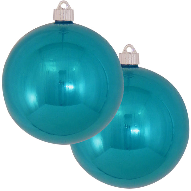 "6"" (150mm) Commercial Shatterproof Ball Ornament, Shiny Tropical Blue, 2 per Bag, 6 Bags per Case, 12 Pieces - Christmas by Krebs Wholesale"