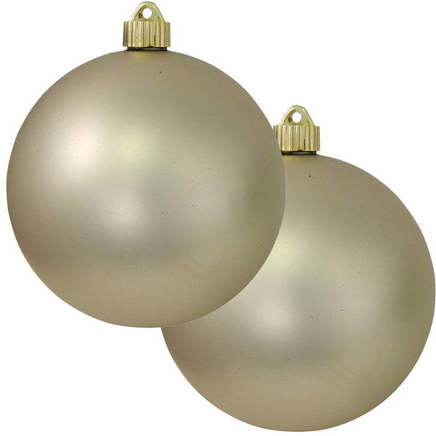 "6"" (150mm) Commercial Shatterproof Ball Ornament, Matte Buff Velvet Ivory, 2 per Bag, 6 Bags per Case, 12 Pieces"