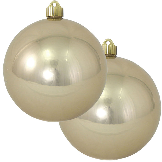 "6"" (150mm) Commercial Shatterproof Ball Ornament, Shiny Champagne Shine Brown, 2 per Bag, 6 Bags per Case, 12 Pieces - Christmas by Krebs Wholesale"