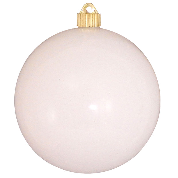 "6"" (150mm) Commercial Shatterproof Ball Ornament, Shiny Pure White, 2 per Bag, 6 Bags per Case, 12 Pieces"