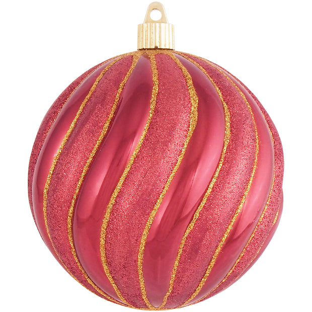"Sonic Red 4 3/4"" (120mm) Shatterproof Swirled Ball with Red / Gold Swirls, Case, 24 Pieces - Christmas by Krebs Wholesale"