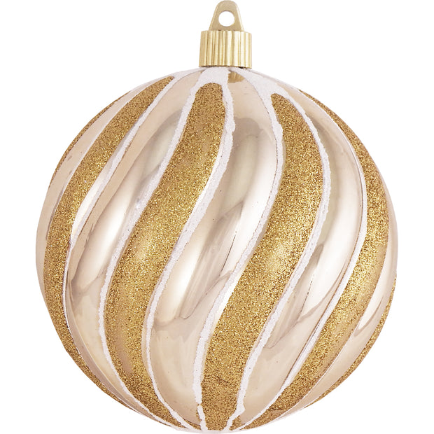 "Gilded Gold 4 3/4"" (120mm) Shatterproof Swirled Ball with Gold / White Swirls, Case, 24 Pieces - Christmas by Krebs Wholesale"