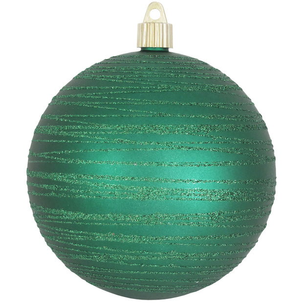 "Shamrock Green 4 3/4"" (120mm) Shatterproof Ball with Emerald Tangles, Case, 24 Pieces - Christmas by Krebs Wholesale"