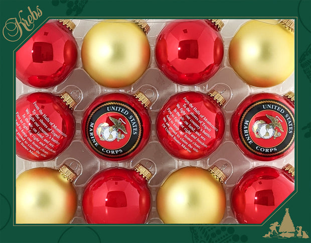 "2 5/8"" (67mm), Marine Logo Trimset of Glass Ball Ornaments, 1/Box, 12/Case, 144 Pieces - Christmas by Krebs Wholesale"
