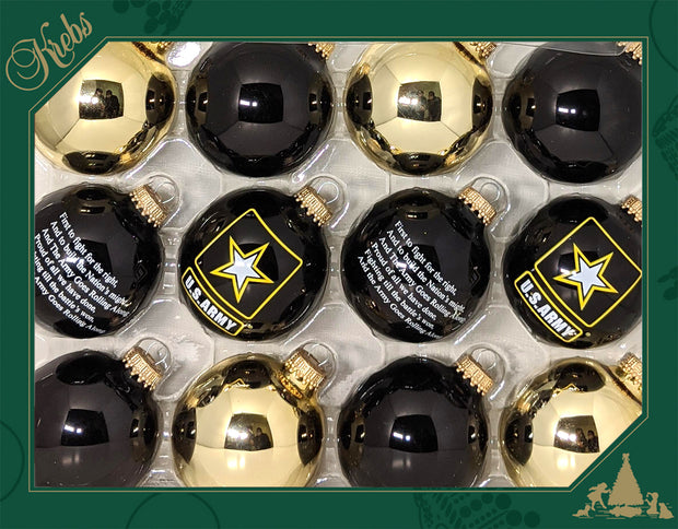 "2 5/8"" (67mm), Army Logo Trimset of Glass Ball Ornaments, 1/Box, 12/Case, 144 Pieces - Christmas by Krebs Wholesale"
