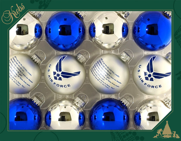 "2 5/8"" (67mm), Air Force Logo Trimset of Glass Ball Ornaments, 1/Box, 12/Case, 144 Pieces - Christmas by Krebs Wholesale"