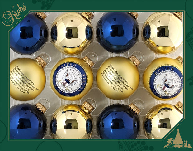 "2 5/8"" (67mm), Navy Logo Trimset of Glass Ball Ornaments, 1/Box, 12/Case, 144 Pieces - Christmas by Krebs Wholesale"
