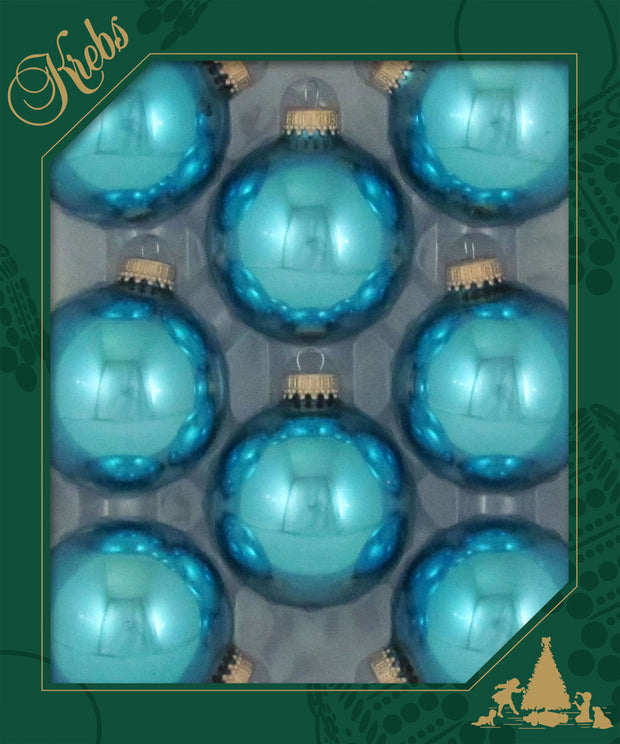 "2 5/8"" (67mm) Ball Ornaments, Gold Caps, Pale Turquoise, 8/Box, 12/Case, 96 Pieces"