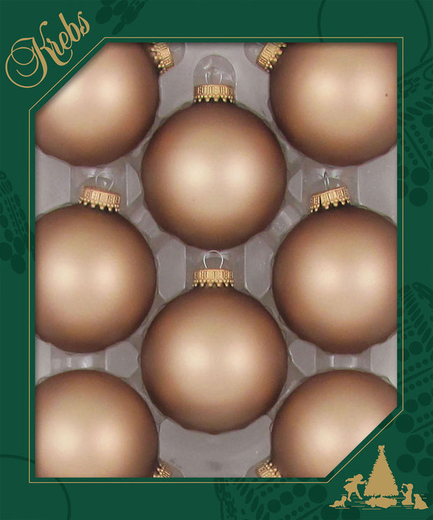 "2 5/8"" (67mm) Ball Ornaments, Gold Caps, Cappuccino, 8/Box, 12/Case, 96 Pieces"