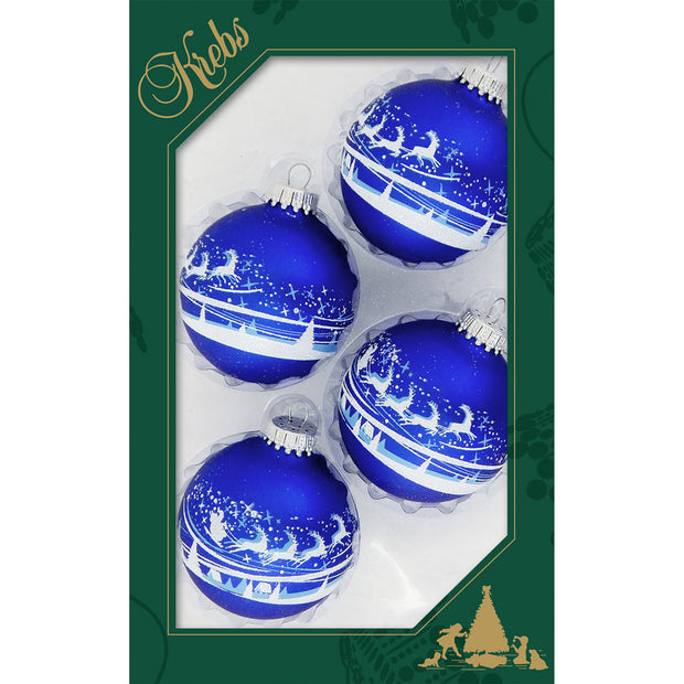 "2 5/8"" (67mm) Ball Ornaments, Santas Village, Royal Velvet, 4/Box, 12/Case, 48 Pieces"