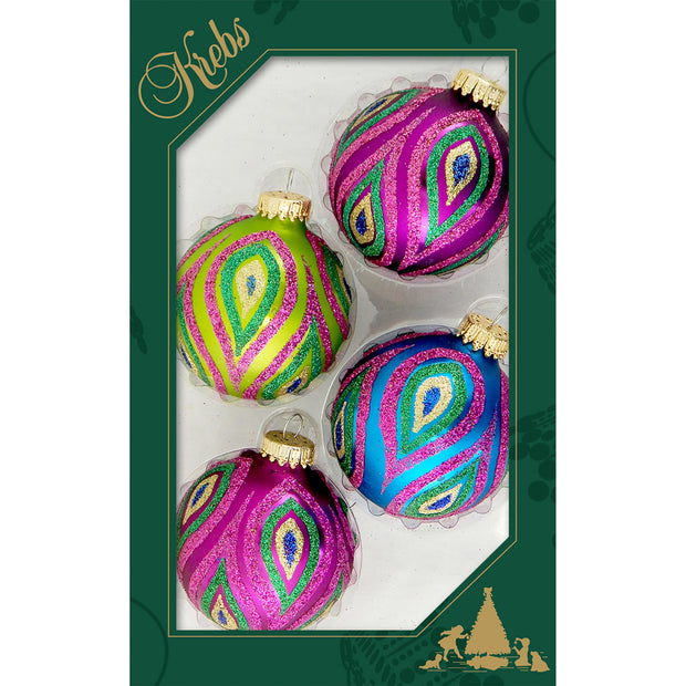 "2 5/8"" (67mm) Ball Ornaments, Color Splash, Multi, 4/Box, 12/Case, 48 Pieces - Christmas by Krebs Wholesale"