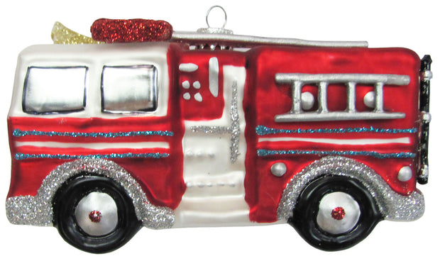 "5"" (127mm) Fire Truck Figurine Ornaments, 1/Box, 6/Case, 6 Pieces - Christmas by Krebs Wholesale"