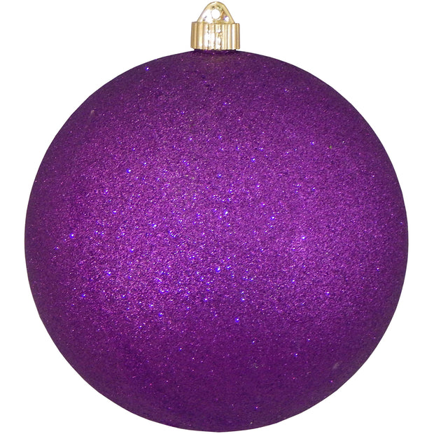 "8"" (200mm) Giant Commercial Shatterproof Ball Ornament, Purple Glitter, Case, 6 Pieces"