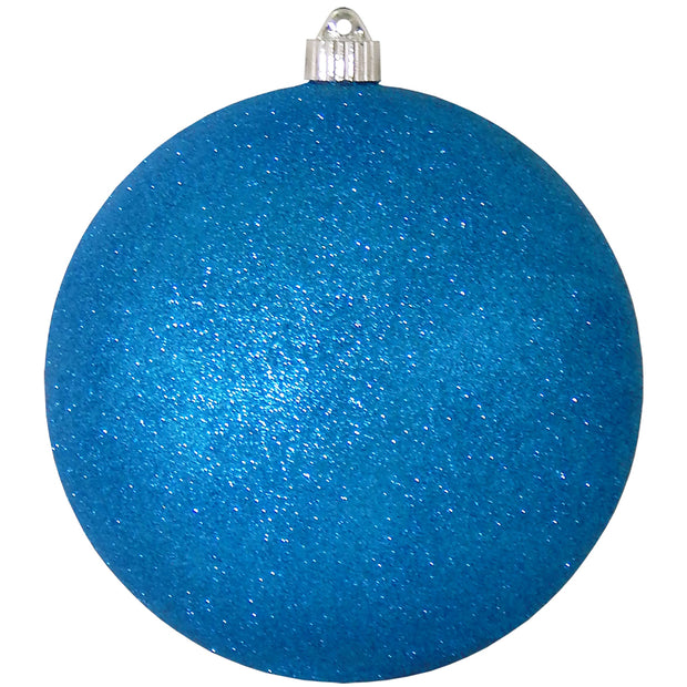 "8"" (200mm) Giant Commercial Shatterproof Ball Ornament, Aqua Glitter, Case, 6 Pieces"