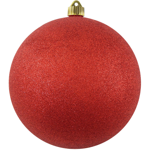 "8"" (200mm) Giant Commercial Pre-Wired Shatterproof Ball Ornament, Red Glitter, Case, 6 Pieces"