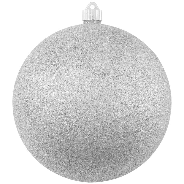 "8"" (200mm) Giant Commercial Pre-Wired Shatterproof Ball Ornament, Silver Glitter, Case, 6 Pieces"