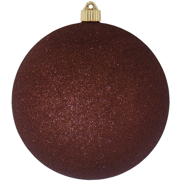 "8"" (200mm) Giant Commercial Shatterproof Ball Ornament, Brown Glitter, Case, 6 Pieces"
