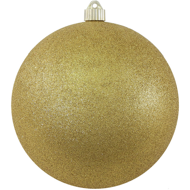 "8"" (200mm) Giant Commercial Pre-Wired Shatterproof Ball Ornament, Gold Glitter, Case, 6 Pieces"