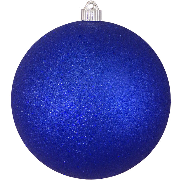 "8"" (200mm) Giant Commercial Pre-Wired Shatterproof Ball Ornament, Dark Blue Glitter, Case, 6 Pieces"