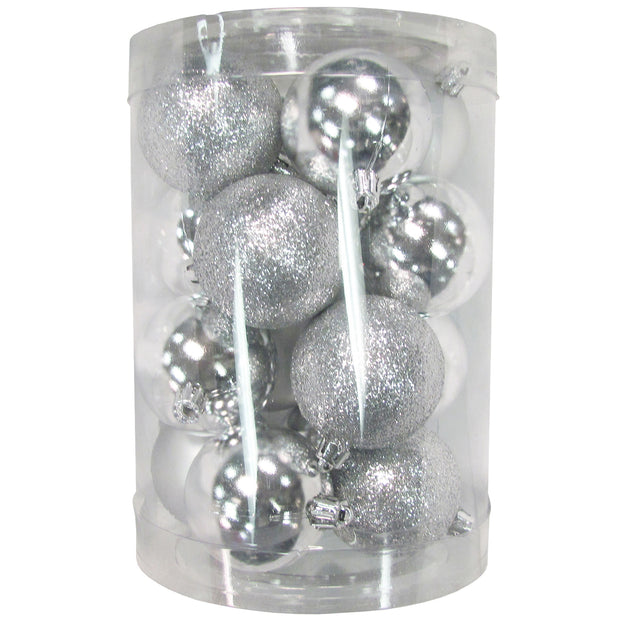 "2 1/3"" (60mm) Shatterproof Christmas Ball Ornaments, Silver Multi, Case, 16 Count x 12 Tubs, 192 Pieces"
