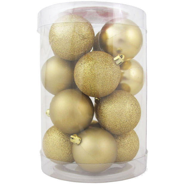 "2 1/3"" (60mm) Shatterproof Christmas Ball Ornaments, Gold Multi, Case, 16 Count x 12 Tubs, 192 Pieces"