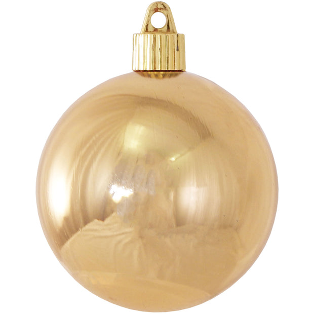 "3 1/4"" (80mm) Commercial Pre-Wired Shatterproof Ball Ornament, Gilded Gold, Case, 80 Pieces - Christmas by Krebs Wholesale"