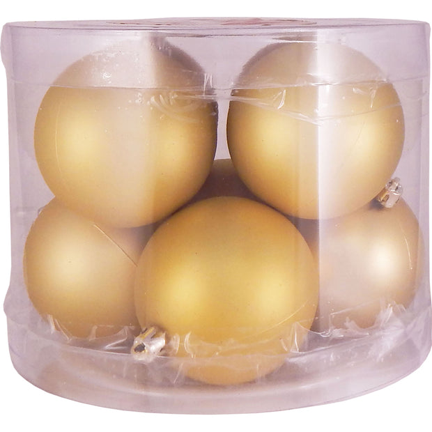 "3 1/4"" (80mm) Commercial Shatterproof Ball Ornament, Gold Dust, Case, 80 Pieces"