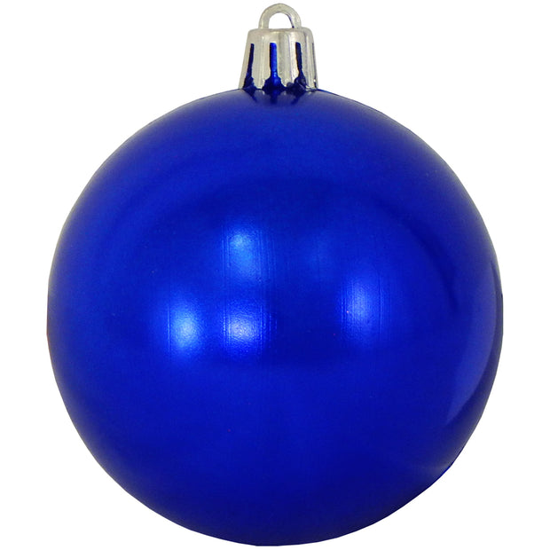 "3 1/4"" (80mm) Commercial Pre-Wired Shatterproof Ball Ornament, Azure Blue, Case, 80 Pieces - Christmas by Krebs Wholesale"